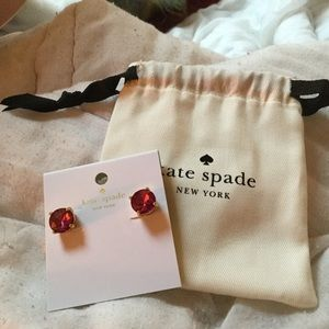 Kate Spade Pink Gem stone Gold Post Earrings NWT